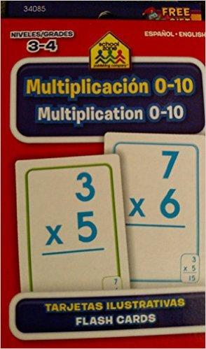 School Zone Bilingual Spanish English Multiplication (Multiplicacion) Facts 1-10 Flash Cards