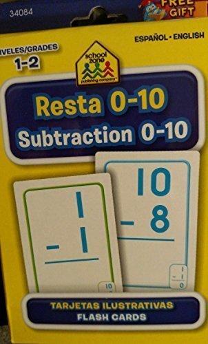 School Zone Bilingual Spanish English Subtraction (Resta) Facts 0-10 Flash Cards