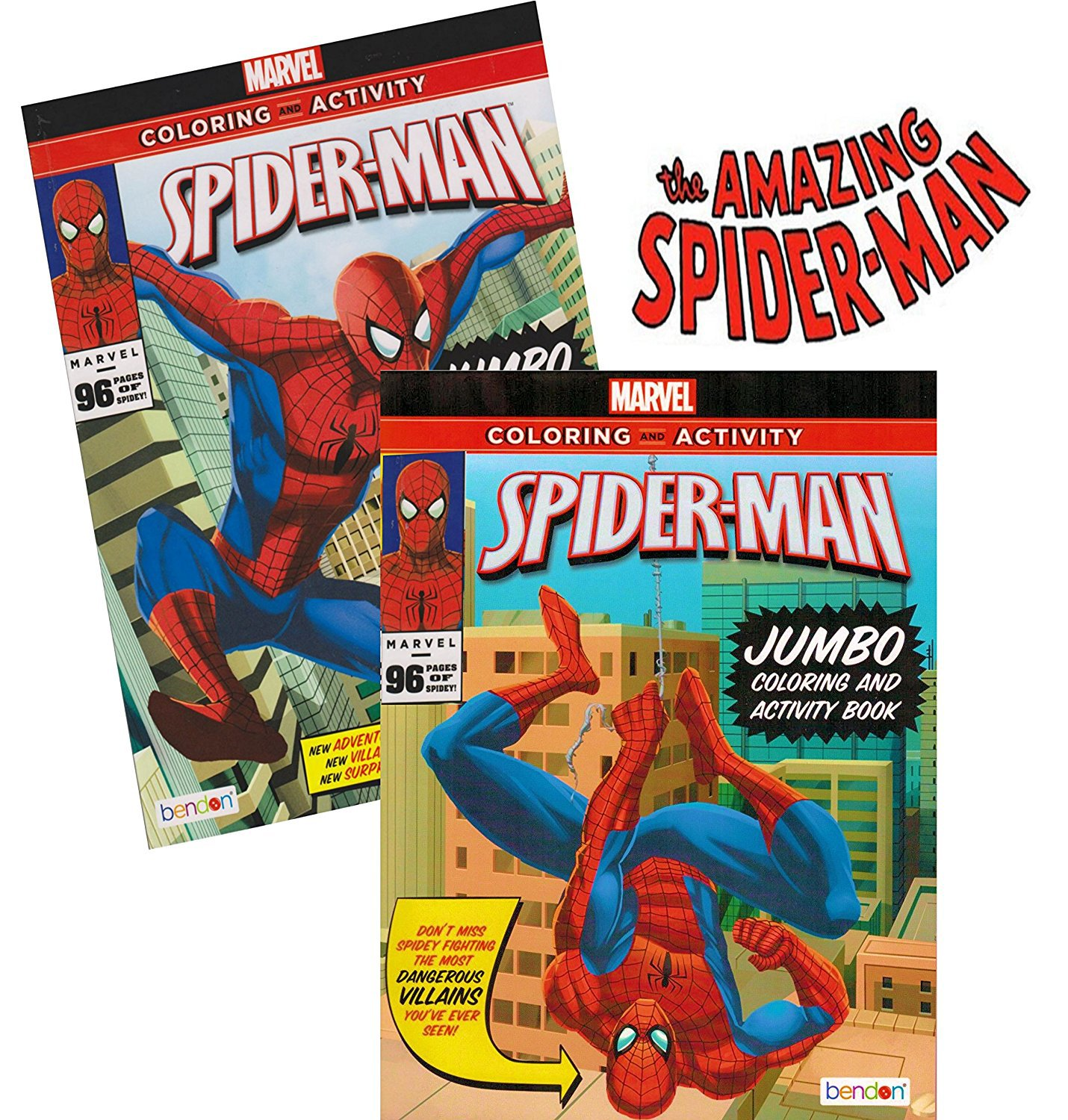 Spider-man Coloring & Activity Book Set (2 Books ~ 96 pgs each)