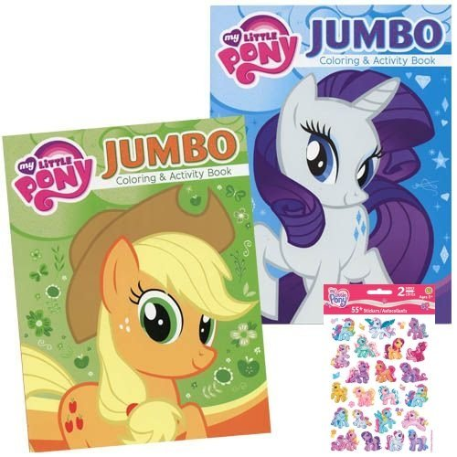 My Little Pony Jumbo Coloring and Activity Book - 2 Jumbo Coloring Books Plus Pack of Stickers