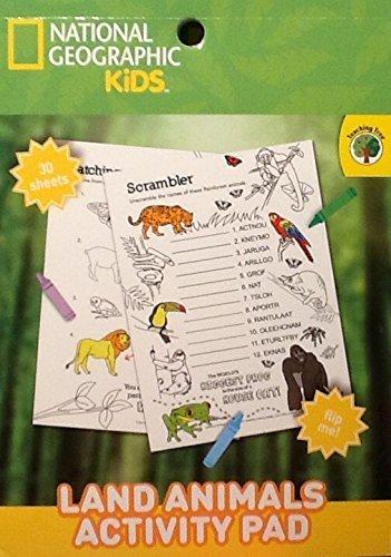 National Geographic & Teaching Tree ~ Kids Land Animals Activity Pad ~ Coloring Flip Pad