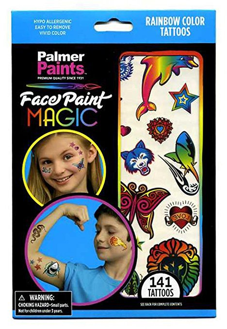 141 Rainbow Color Tattoos for Children - 6 Sheets