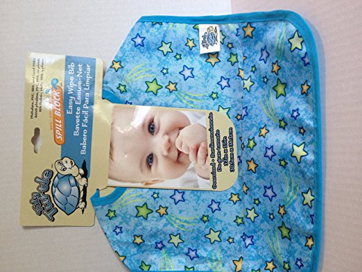 Tidy Turtle Easy Wipe Bib (blue and star