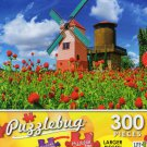 Windmill in the Garden with Colorful Flowers - Puzzlebug 300 Piece Jigsaw Puzzle