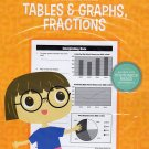 Mathematics Tables & Graphs, Fractions - Worksheets Workbook  Grades 4 - 6