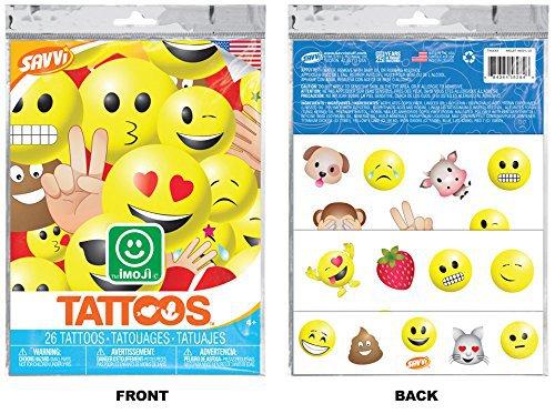 Emoji - Temporary Tattoos - 26 Tattoos By Savvi