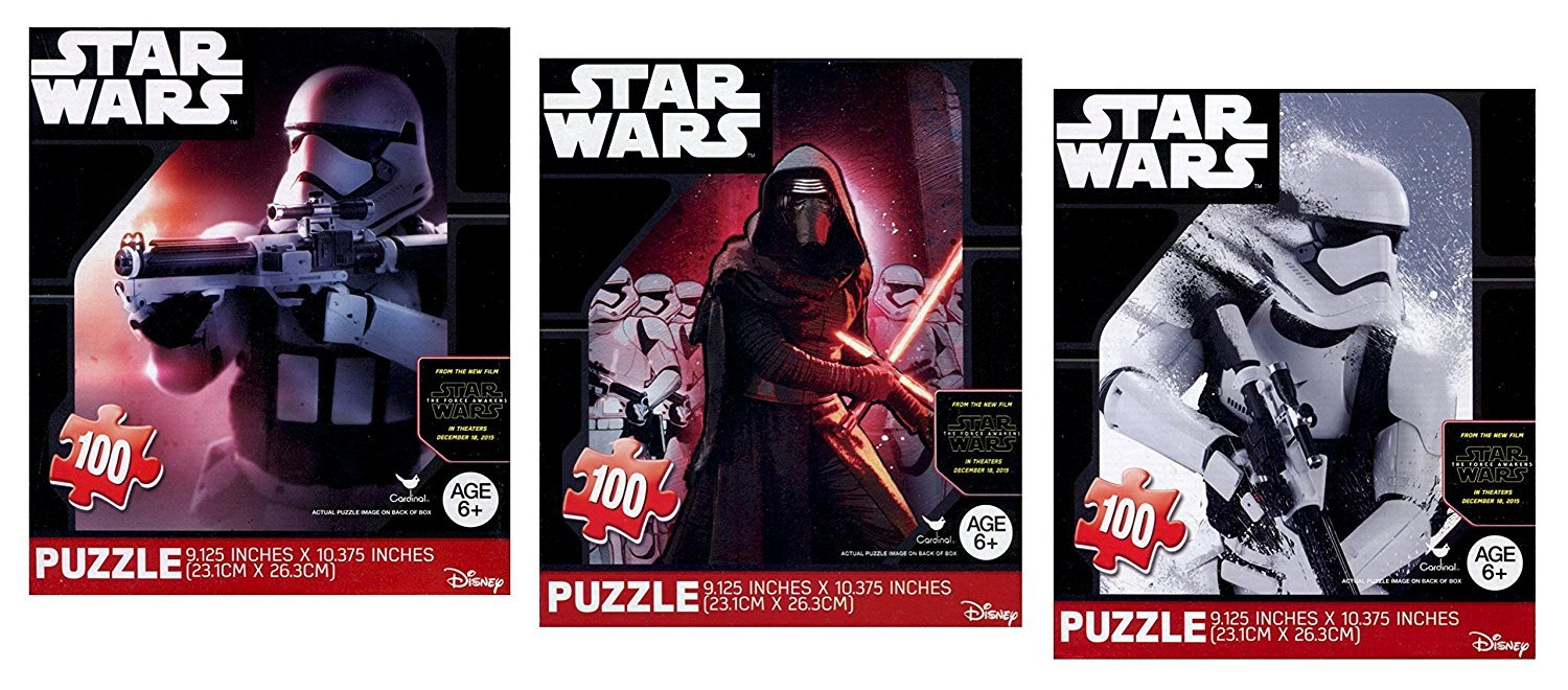 3 PACK Star Wars Puzzles 100 Pieces Each Kylo Ren Stormtroopers The Force Awakens