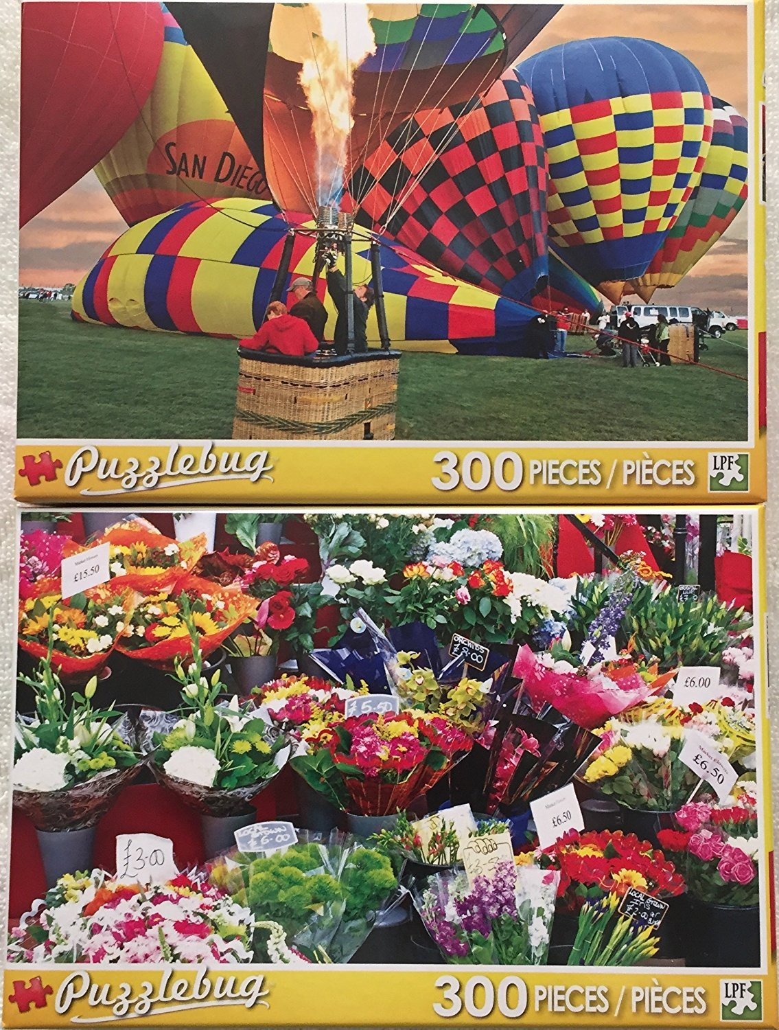 2 Puzzlebug 300 Piece Puzzles: Hot Air Balloon Ride - All Aboard! ~ Colorful Market Flowers