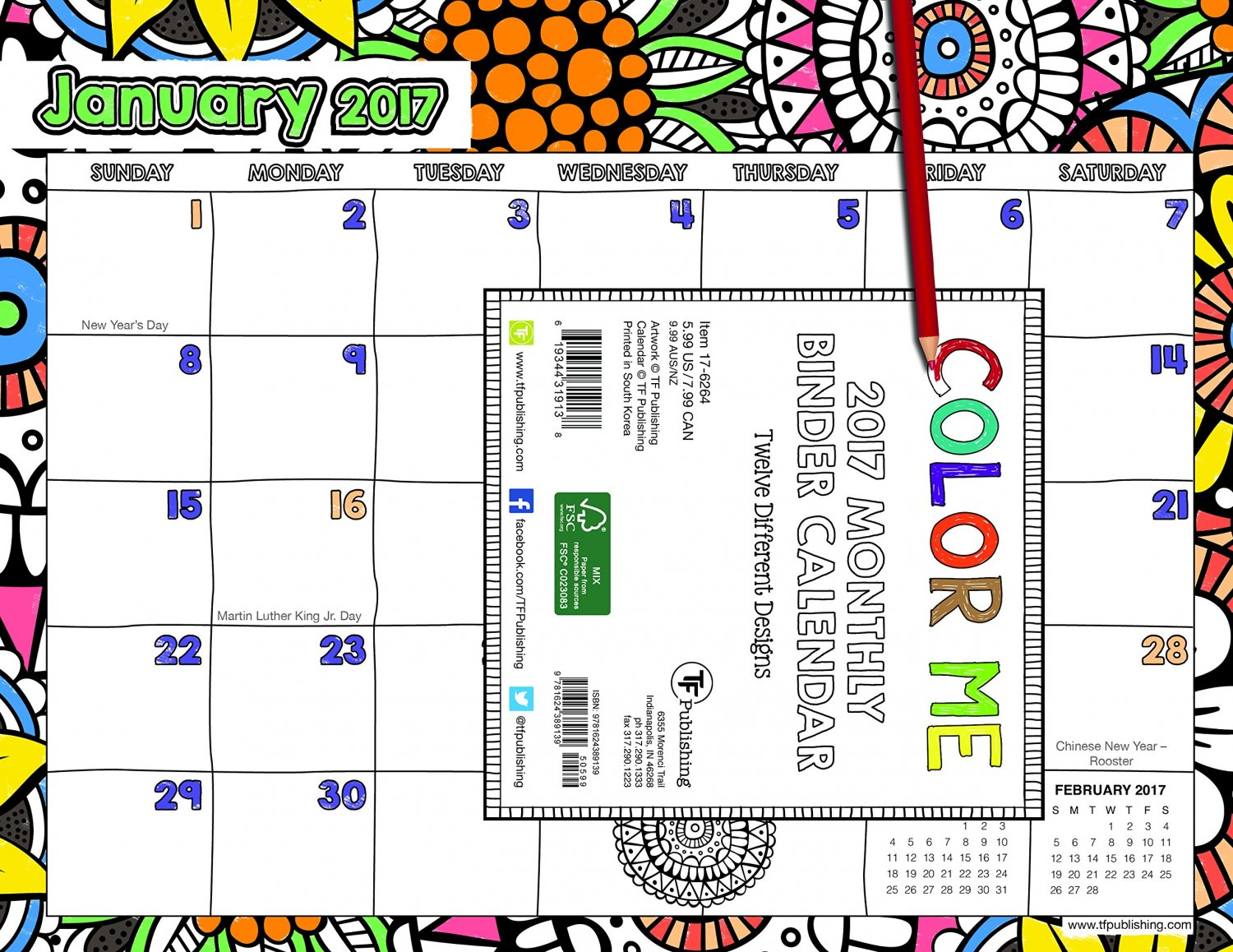 2017 Color Me Binder Pad Calendar