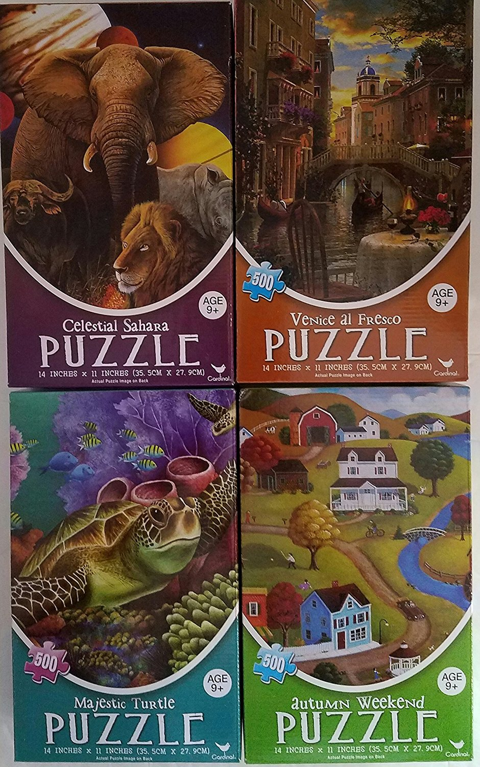 MAJESTIC TURTLE, AUTUMN WEEKEND, VENICE AL FRESCO, CELESTIAL SAHARA. 500 PIECE PUZZLES