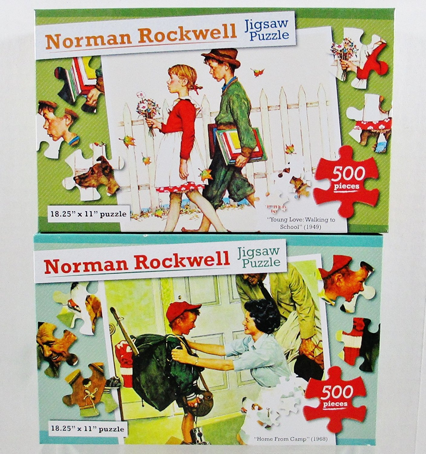 2 Norman Rockwell 500 Piece Puzzles - Home From Camp (1968) and Young Love: Walking to School (1949)