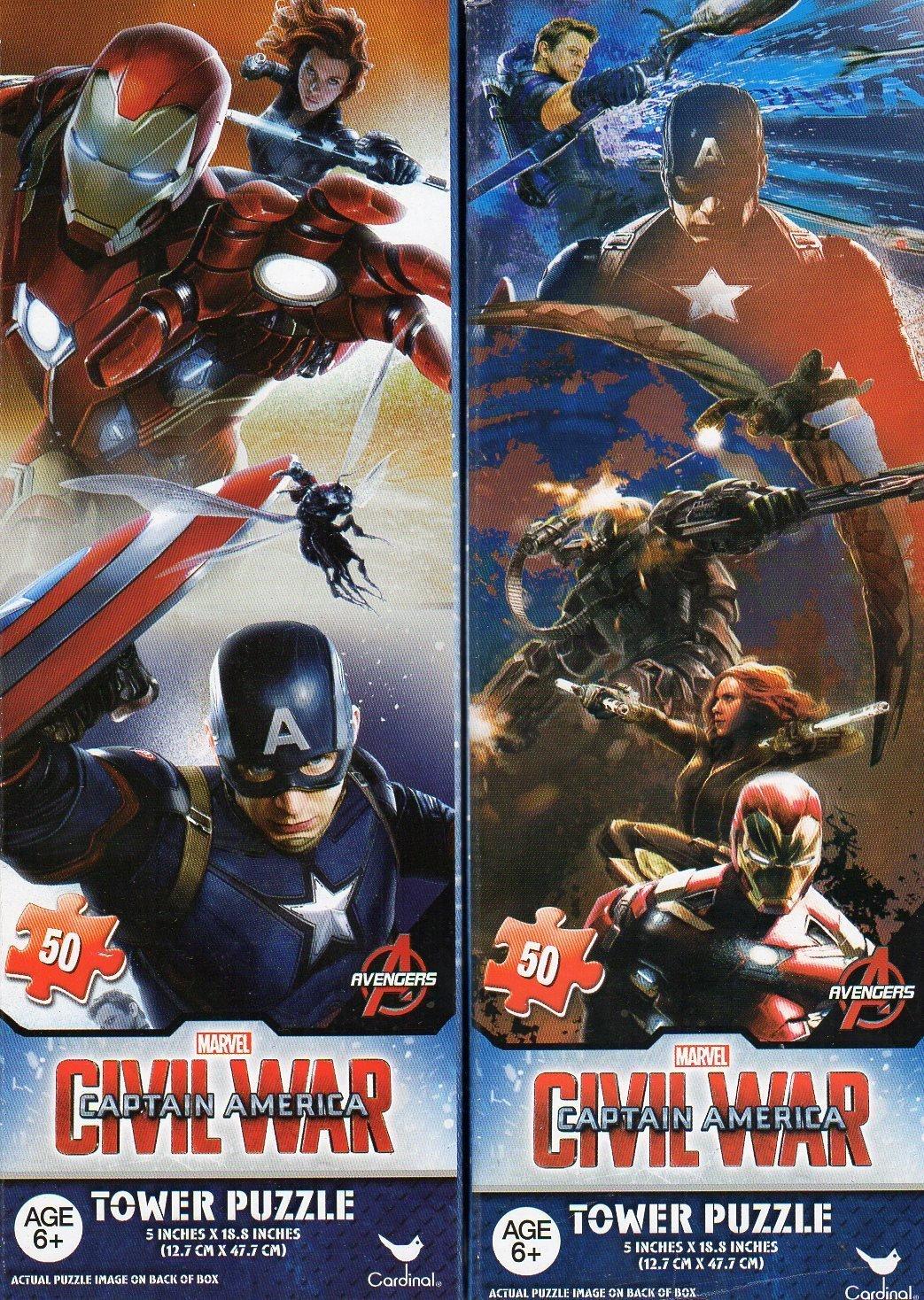 Captain America - Civil War - 50 Piece Tower Jigsaw Puzzle - DC Comics - (Set of 2 Puzzle)