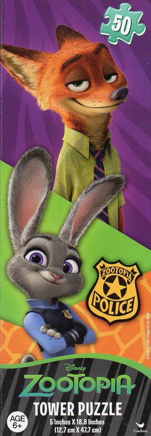 Disney Zootopia 50 Piece Tower Jigsaw Puzzle (5 X 18.8 Inches) Judy Hopps Nick Wilde