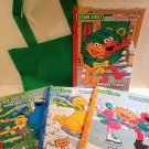 4 Sesame Street Jumbo Coloring and Activity Christmas Books with Carrying Tote