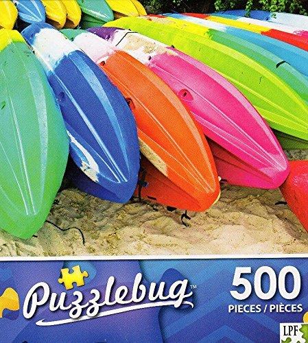 Colorful Beach Kayaks - 500 Piece Jigsaw Puzzle Puzzlebug