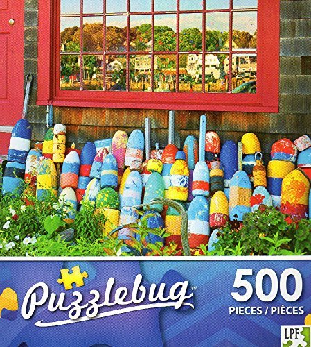 Lobster Buoys in Front of a New England House - 500 Piece Jigsaw Puzzle Puzzlebug