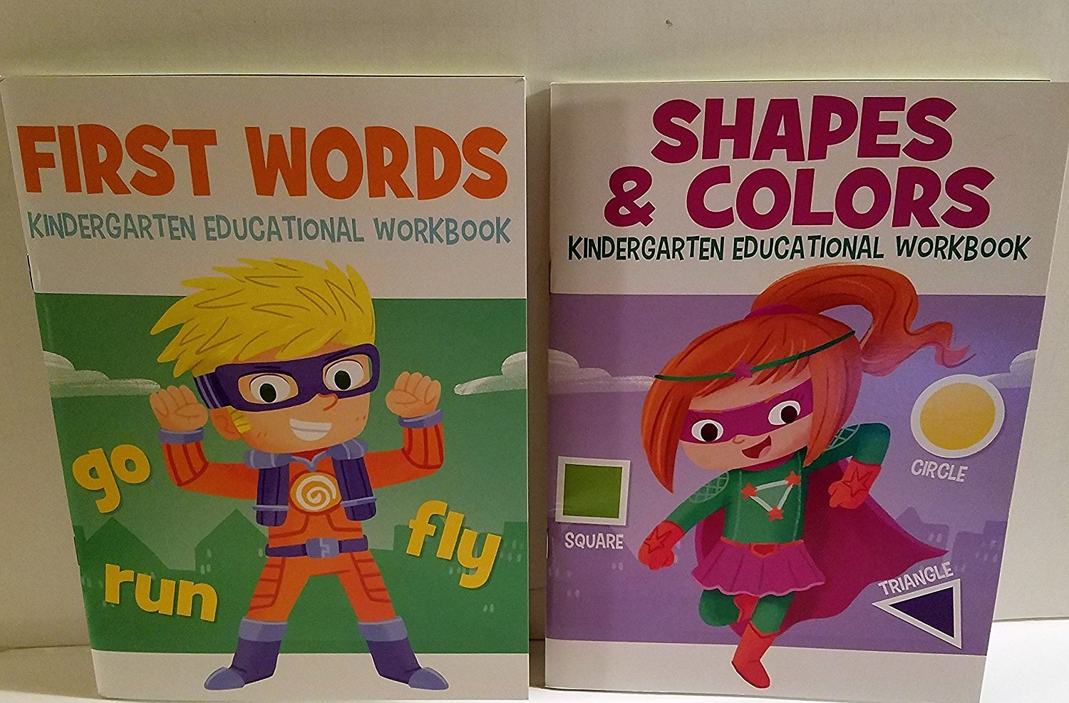 Two Kindergarten Educational Workbooks - Shapes and Colors, First Words