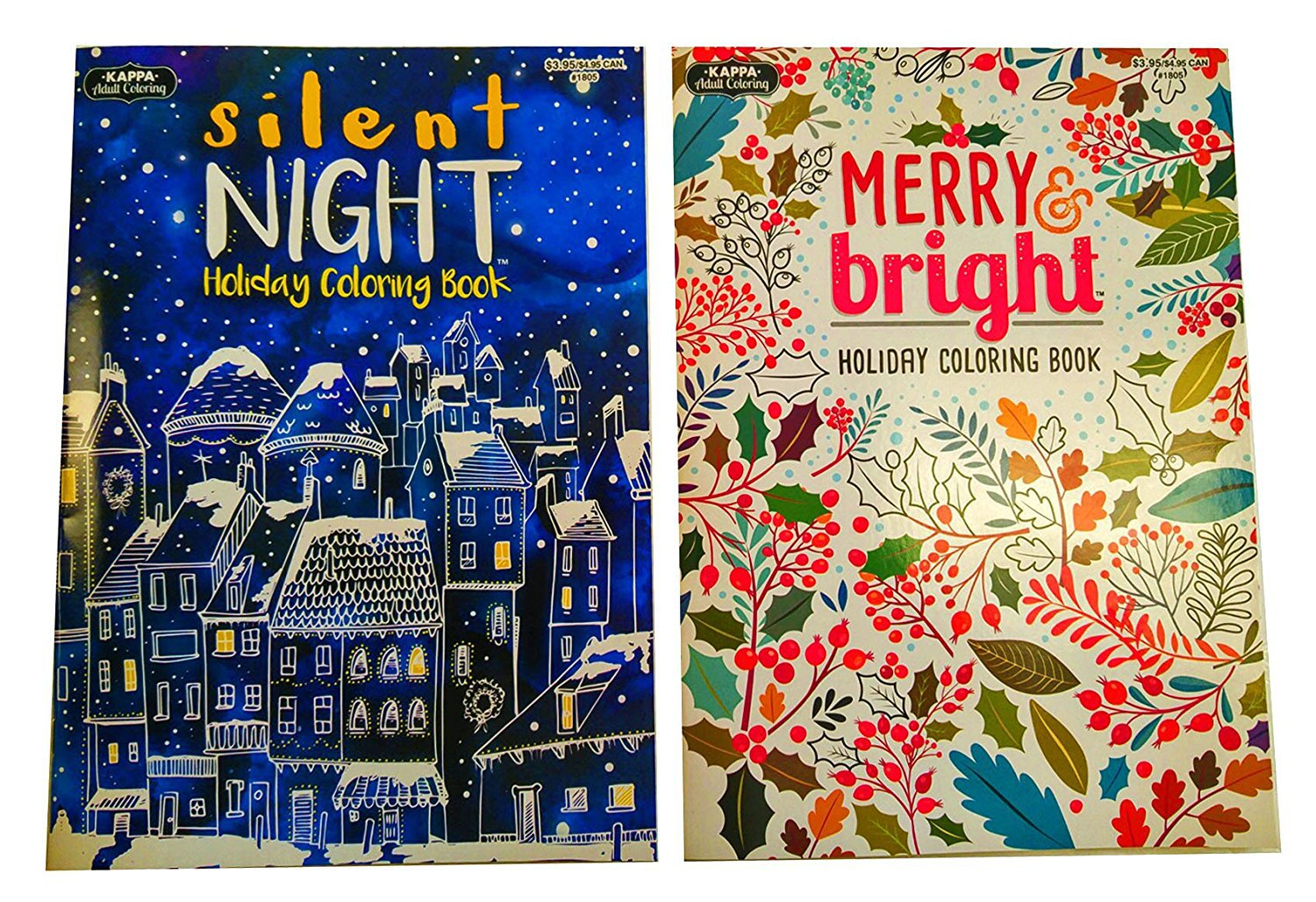 Set of 2 Holiday Christmas Adult Coloring Books (16 Double sided sheets)