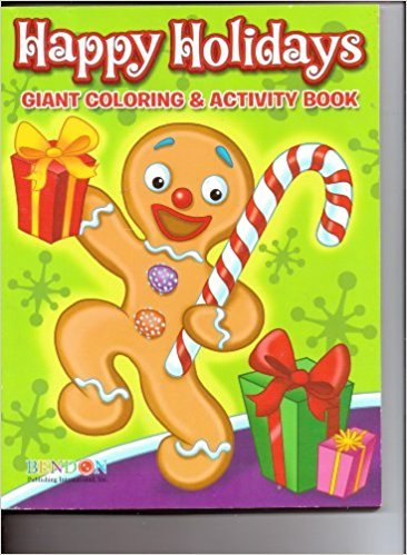 Happy Holidays Giant Coloring & Activity Book ~ Gingerbread Man with Candy Cane