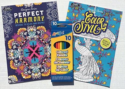 Coloring Books - Color in Style and Perfect Harmony -- Set of 10 Colored Pencils Included