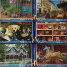 Bundle of 6 Puzzlebug 500 Piece Puzzles by LPF ~ Deck, Cafes, Puppy, Boots, House, Carousel
