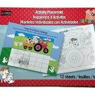 Childrens Activity Placemats Set 12 Sheets Farm Theme 8.25x11