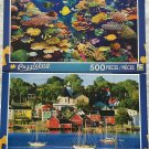 2 Puzzlebug 500 Piece Puzzles: Colorful Fish Aquarium ~ Colourful Lunenburg Waterfront, Nova Scotia