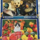 2 Puzzlebug 500 Piece Puzzles by LPF: Labrador Puppy Playing in Duck Decoys ~ Autumn Kitten