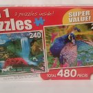 "2 in 1 PUZZLE 480 Piece ""Unicorn Paradise"" & ""Beautiful Peacock Up Close"""