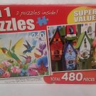 "2 in 1 PUZZLE 480 Piece ""Hummingbird Garden"" & ""Painted Birdhouses"""
