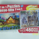 2 in 1 PUZZLE 480 Piece (Cosy Cabin & Timber Wolf Pack)