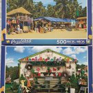 2 Puzzlebug 500 Piece Puzzles by LPF--Palolem Beach, Southern Goa ~ Road Side Crafts Stand