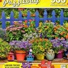 Colorful Blue Picket and Flowers - 300 Piece Jigsaw Puzzle Puzzlebug