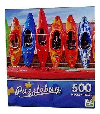 Row of Colorful Kayaks - 500 Piece Jigsaw Puzzle Puzzlebug