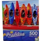 Row of Colorful Kayaks - 500 Piece Jigsaw Puzzle Puzzlebug