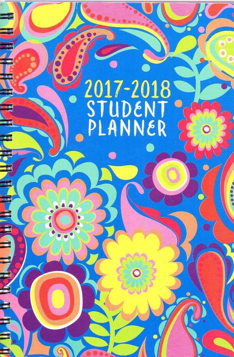 2017 - 2018 Student Planner Calendar (Floral Paisley) - School College Weekly / Monthly Agenda