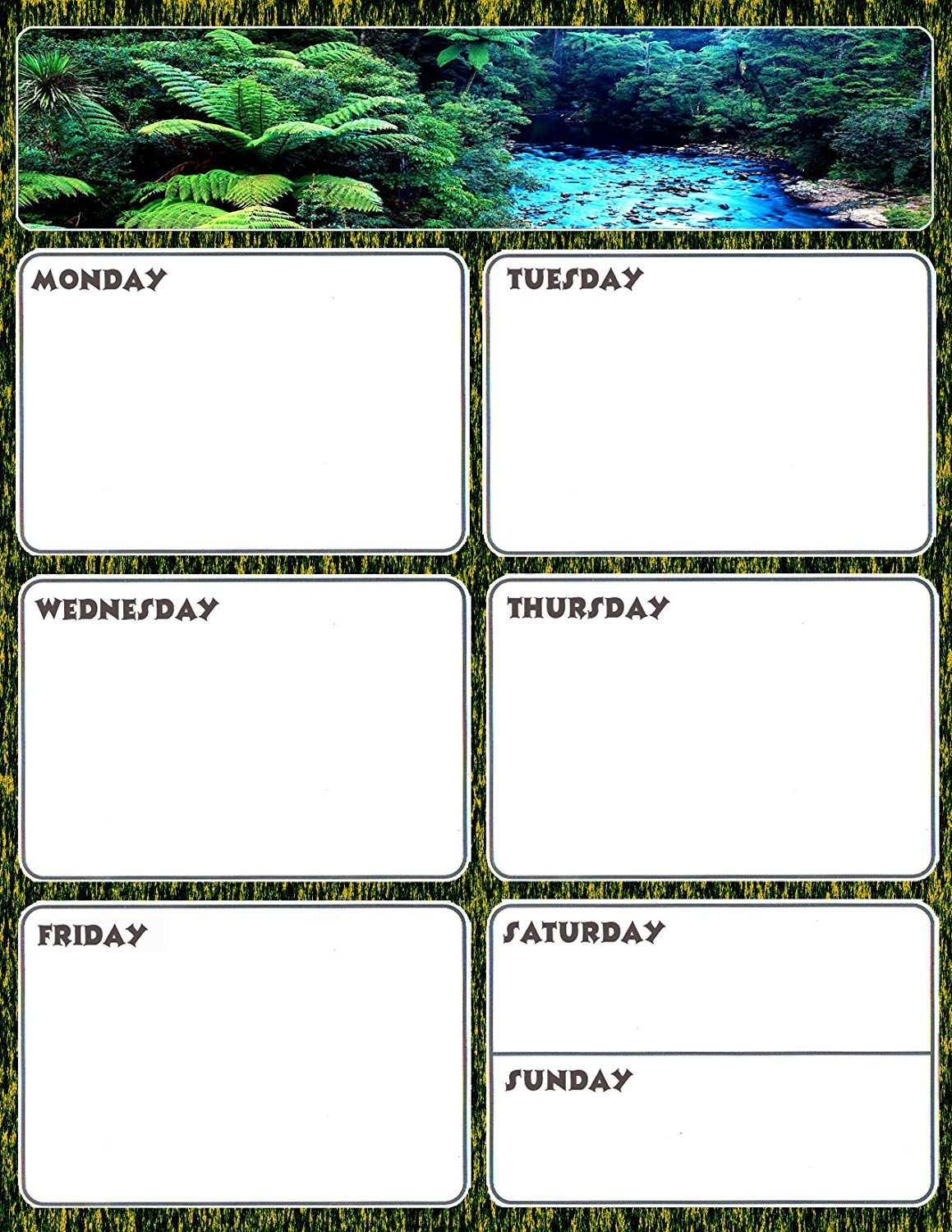 Magnetic Dry Erase Calendar - Weekly Planner / Locker Wallpaper - (Full sheet Magnetic) - v2