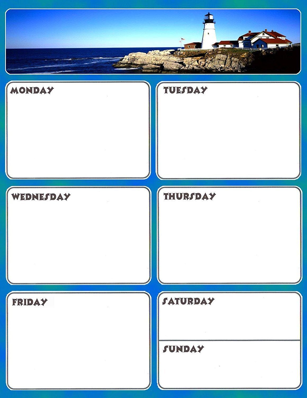 Magnetic Dry Erase Calendar - Weekly Planner / Locker Wallpaper - (Full sheet Magnetic) - v5