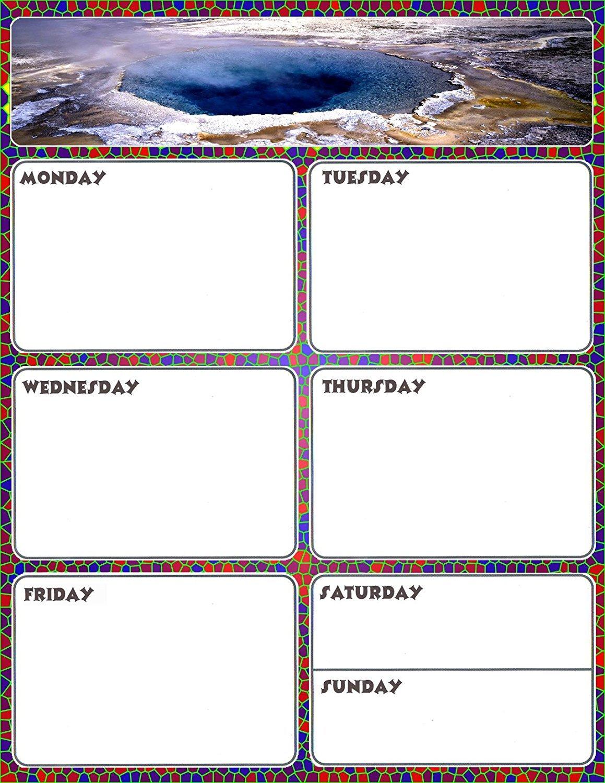 Magnetic Dry Erase Calendar - Weekly Planner / Locker Wallpaper - (Full sheet Magnetic) - v4