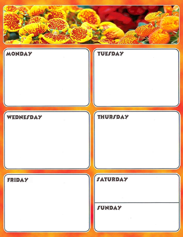 Magnetic Dry Erase Calendar - Weekly Planner / Locker Wallpaper - (Full sheet Magnetic) - v3