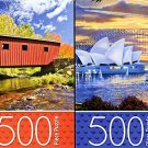 Covered Bridge / Sydney Opera House - 500 Piece Jigsaw Puzzle (Set of 2 Puzzle)