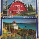 Recycled Traffic Sign Farm ~ 500 Piece Jigsaw Puzzle Bright Beautiful Colorful By Puzzlebug.Set of 2