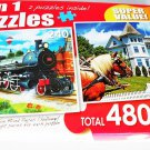 2 Puzzles Steam Train at Station & The Wedding Cake Cottage, Mackinac Island Michigan