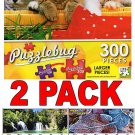 Kitty Picnic - 300 Piece Jigsaw Puzzle Puzzlebug + Bonus 2017 Magnetic Calendar