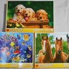 3 Horse Dog Fish Jigsaw Puzzles by Puzzlebug 300 pc