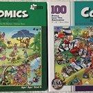 Bundle Lot of 2 Comics 100 Piece Jigsaw Puzzles by Papercity Puzzles: Golf Safari ~ Jungle Air Tours