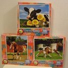 Lot of THREE Puzzlebug Puzzles by LPF, 100 Pieces Each