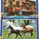 2 Puzzlebug 500 Piece Puzzles by LPF: Historic Spanish Village, Miami, Florida ~ Running Horses