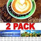 Coffee - 16 Month 2018 Wall Calendar Scheduler Organizer + Bonus 2018 Magnetic Calendar