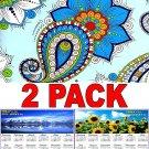 Textile Designs - 16 Month 2018 Wall Calendar Scheduler Organizer + Bonus 2018 Magnetic Calendar